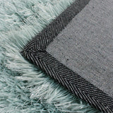 Duck Egg Blue Green Rug Modern Shaggy Carpet with Plain Sparkling (Shimmer) Pattern Soft Deep Long High Pile Fluffy Living Room Bedroom Polyester Area Lounge Small Large Floor Mat 60x110cm 80x150cm 120x170cm 160x230cm