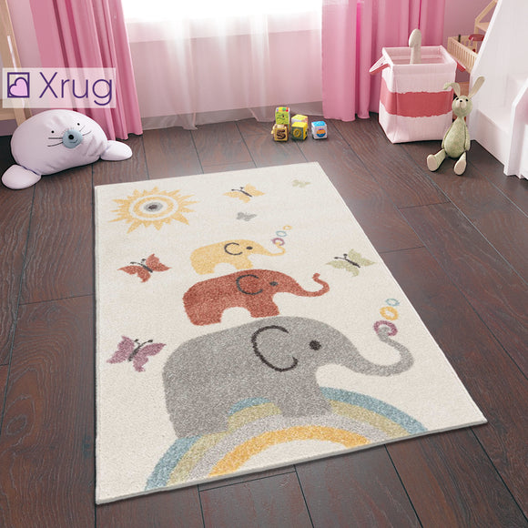 Elephant Nursery Rug Cream Kids Bedroom Carpet Baby Playroom Mat 80x120 cm