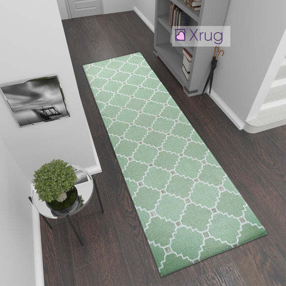 Modern Green Cream Cotton Runner Rug Moroccan Trellis Pattern Washable Hallway Long Carpet Woven Hall Mat -75x300cm Flatweave Living Room Bedroom Area Mat Contemporary