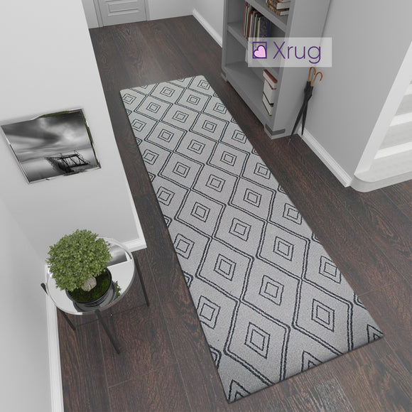 Modern Light Grey Dark Grey Anthracite Runner Rug Geometric 100% Cotton Washable Woven Hallway Hall Flat Weave Carpet Natural Diamond Patterned Mat - 75x300cm  Living Room Bedroom Floor Area Mat Contemporary