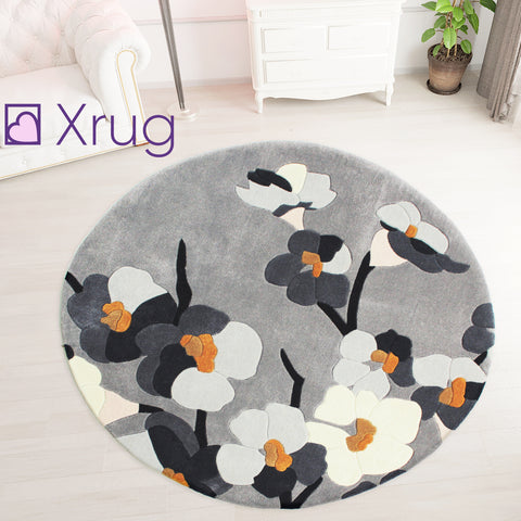 Modern Grey Floral Rug Thick Soft Carpet Mustard Hand Carved Pattern Small Large Circle