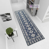Blue Cotton Rug Runner Diamond Moroccan Pattern Washable Long Carpet Hall HallwayMat