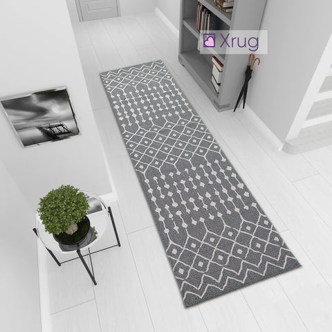 Cotton Rug Runner Washable Hall Hallway Carpet Long Mat Moroccan Diamond Berber Pattern 75x300cm
