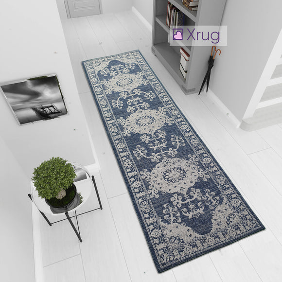 Modern Navy Blue Light Grey Oriental Vintage Rug Runner 100% Cotton Natural Hallway Hall  Flat Weave Carpet Washable Natural Woven Mat - 75x300cm  Living Room Bedroom Floor Area Mat Contemporary