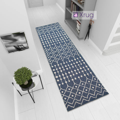 Blue Cotton Rug Runner Washable Flat Weave Carpet Moroccan Diamond Pattern Large Small Mat