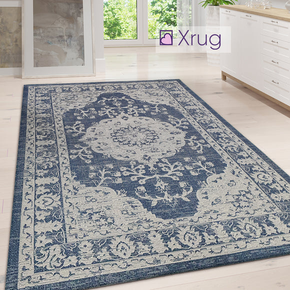 Cotton Rug Machine Washable Navy Grey Oriental Pattern Flat Weave Carpet Runner Large Small