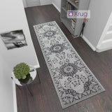 Cotton Runner Grey Black Oriental Vintage Pattern 3m Long Rug Carpet Hall Hallway Mat