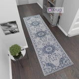 Cotton Rug Runner Washable Hall Hallway 3m Long Carpet Flat Weave Mat Grey Navy Blue Oriental Vintage Pattern