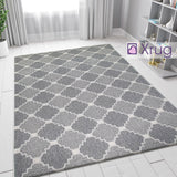 Grey Trellis Rug 100% Cotton Large Small XL Rug Runner Washable Flat Weave Carpet Mat
