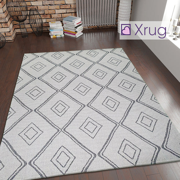 Cream Grey Rug Diamond Pattern 100% Cotton Washable Flat Weave Carpet Woven Living Room Bedroom Mat
