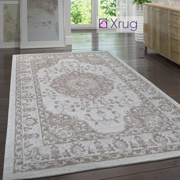 Modern Oriental Rug 100% Cotton Small Extra Large Washable Cream Taupe Brown Living Room Bedroom Flatweave Carpet Mat