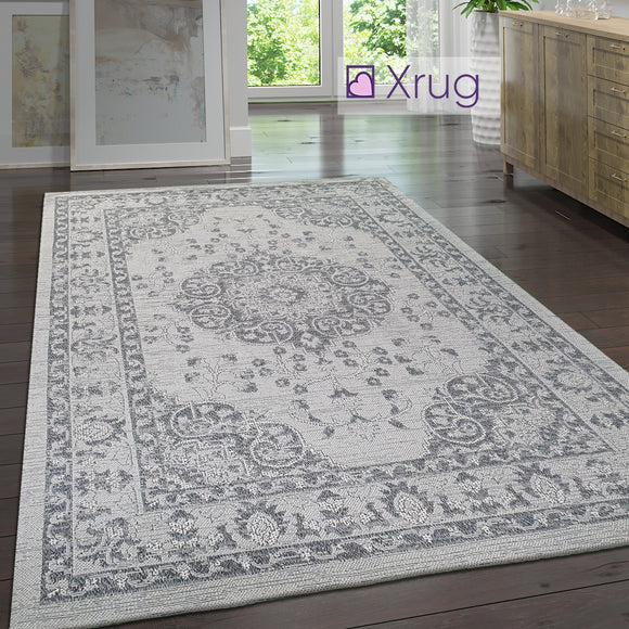 Grey Oriental Rug 100% Cotton Small Extra Large Flatweave Washable Carpet Living Room Bedroom Mat
