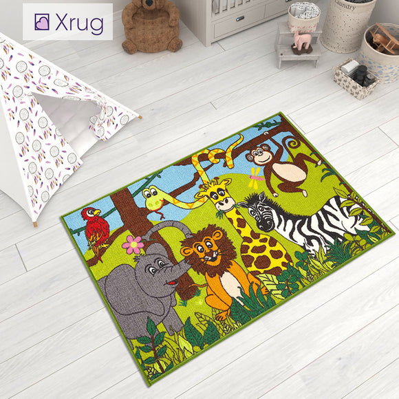 Kids Rug Machine Washable Anti Slip Animal Jungle Zoo Childrens Bedroom Carpet Mat Baby Playroom Mat