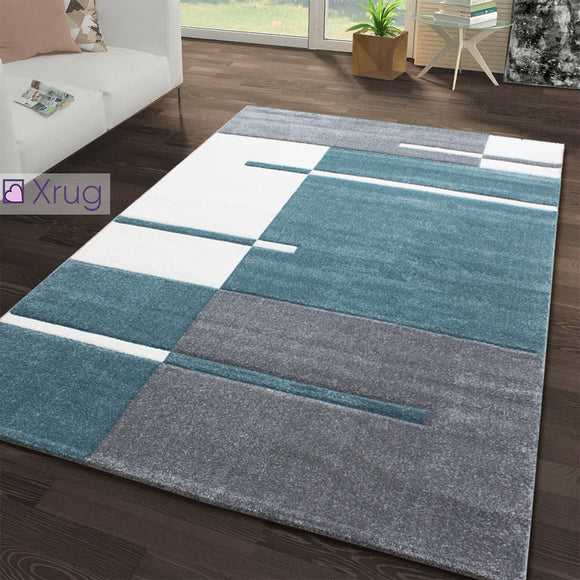 Grey Teal Blue Rug Geometric Extra Large Small Woven Mat Contour Cut Patterned Rug