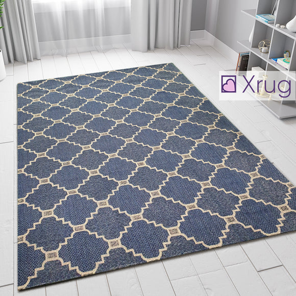 Navy Blue Rug 100% Cotton Trellis Grey Pattern Large Small Hall Runner Flatweave Living Room Bedroom Runner Carpet Woven Washable Mat