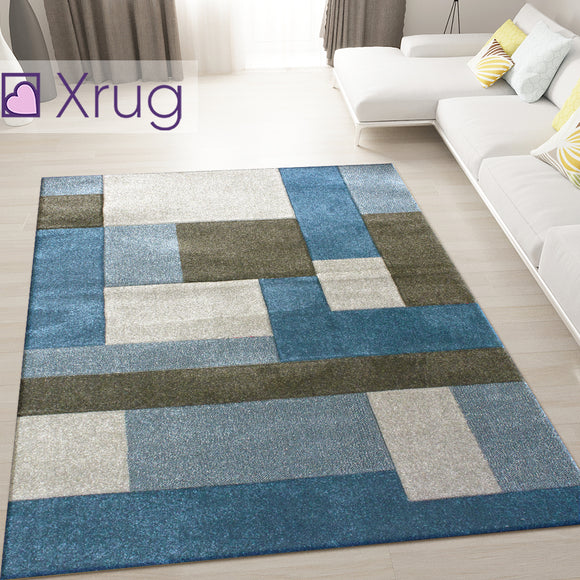 Blue and Grey Rug Geometric Hand Carved Pattern Floor Mat Lounge Hallway Carpet