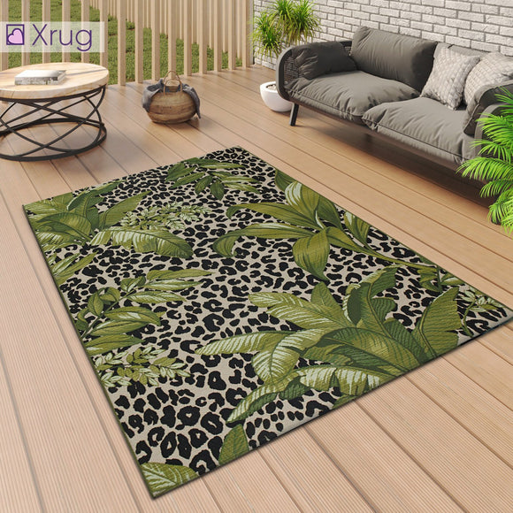 Outdoor Rug Tropical for Decking Patio Garden Large Small Mat Cream Green Black Leopard Floral Palm Pattern