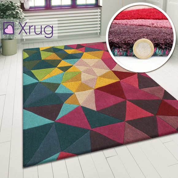 Wool Rug Abstract Multicoloured Carpet Modern Natural Thick Geometric Area Mat