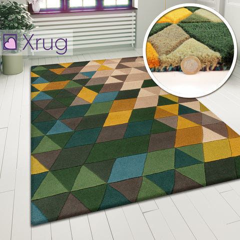 Designer Wool Rug Green Yellow Beige Geometric Natural Carpet Large Small Thick Area Mat