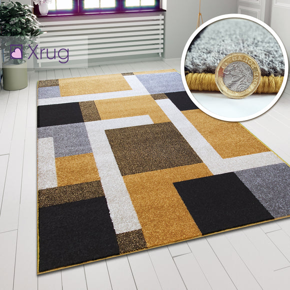 Geometric Rug Gold Grey Black Modern Pattern Mat Large Bedroom Lounge Carpet New