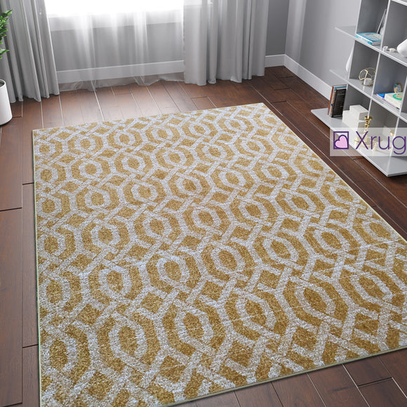 Grey Gold Rug Moroccan Trellis Geometric Pattern Woven Carpet Living Room Bedroom  Large SmallArea Mat