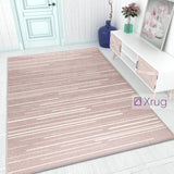 Dusty Pink Rug Woven Rug Carpet Small Large Bedroom Living Room Area Mat White Cream Strips
