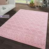 Blush Pink Rug Moroccan Style Diamond Pattern Extra Large Small Bedroom Living Room Woven Mat