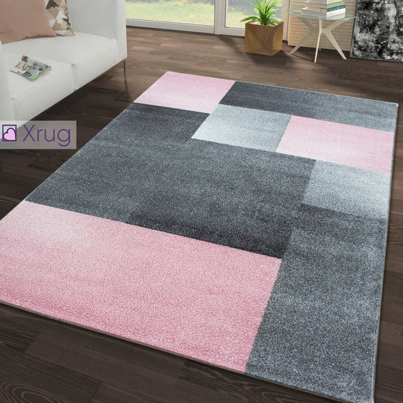 Grey Pink Rug Large Small XL Geometric Patterned Rug Living Room Carpet Area Mat Carpet