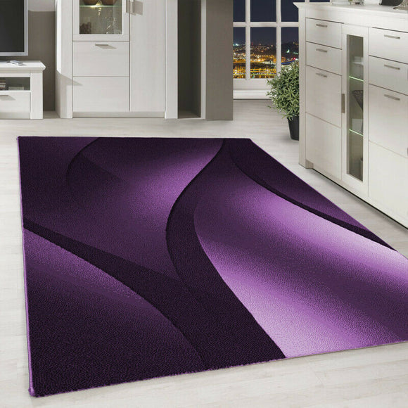 Modern Abstract Rug Purple Black Patterned Carpet Small X Large Living Room Mats