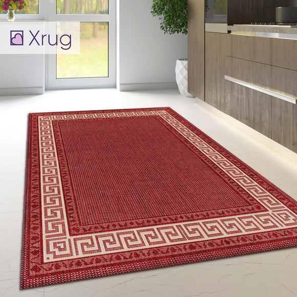 Kitchen Rug Red Non Slip Greek Key Broder Large Small Runner Heavy Duty Mat