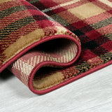 Red Tartan Rug Red Beige Check Patterned Carpet Small Extra Large Hallway Runner