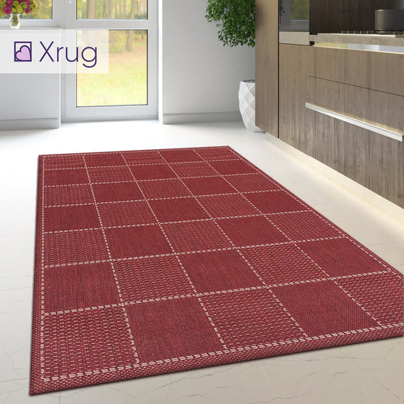 Kitchen Carpet Rug Non Slip Heavy Duty Check Red Mat Large Small Hallway Runner