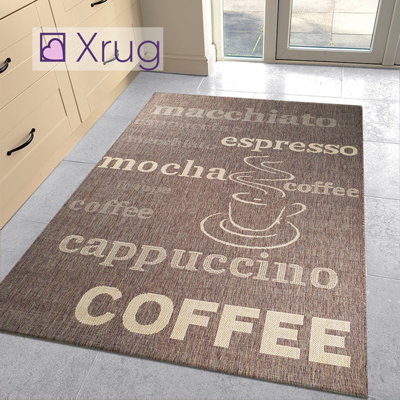 Brown Kitchen Rug Flat Weave Modern Coffee Design Jute Look Runner Small Large New Mat