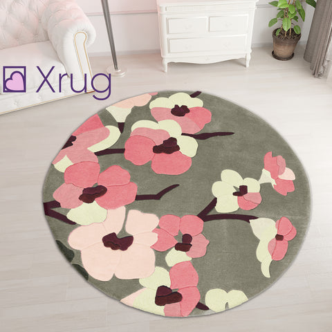 Pink Grey Rug Thick Soft Carpet Hand Carved Floral Pattern Small Large XL Circle