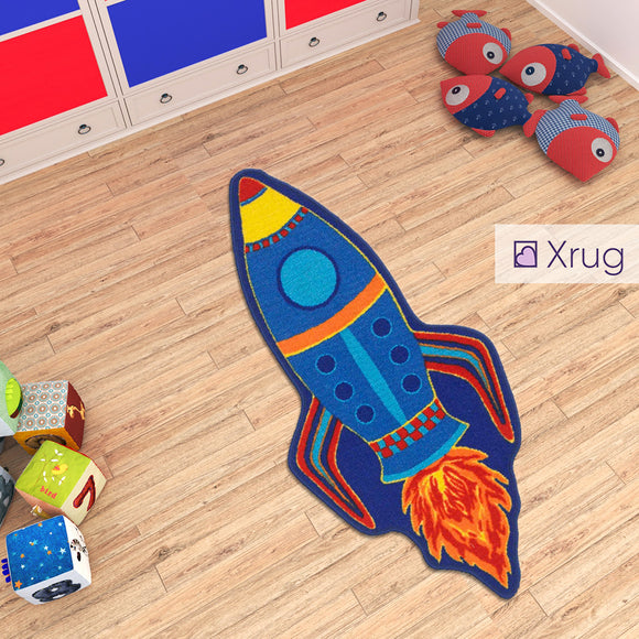 Kids Space Rug Machine Washable Anti Slip Rocket Nursery Carpet Boys Bedroom Mat