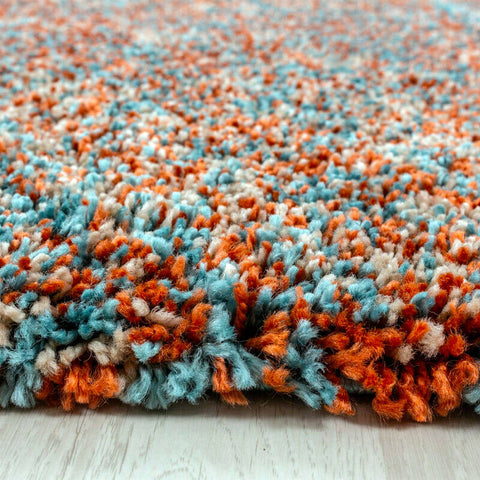 Extra Thick Shaggy Rug Mottled Blue Terracotta Fluffy Carpet Bedroom Hallway Mat