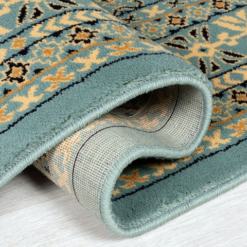 Teal Blue Green Mustard Beige Black Rug Carpet Mat Living Room Dining Bedroom Area Lounge Floor Hall Small Extra Large Big New Modern Designer Traditional Oriental Vintage Pattern Polypropylene Woven Short Low Pile Rectangle Runner Size 120x170cm 160x230cm 200x290cm 60x230cm