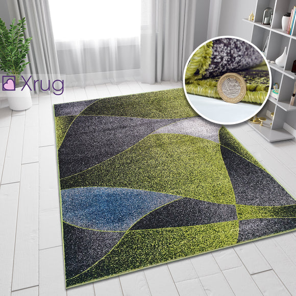 Green and Grey Blue Rug Patterned Rugs Carpets Woven Low Pile Living Room Mat Small Large 80x150 120x170 160x230
