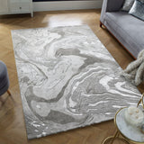 Grey Marble Rug Large Small Hallway Runner Modern Bedroom Soft Woven Carpet Mat