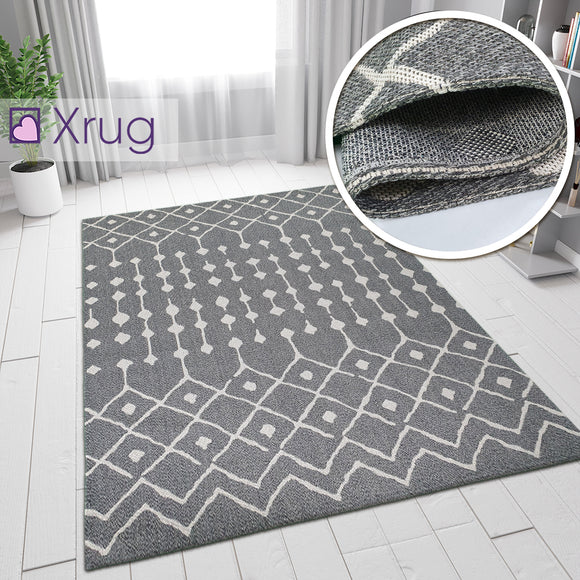 Grey Cotton Rug Diamond Berber Pattern Extra Large Small Flatweave Carpet Modern Woven Patterned Mat