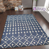 Navy Blue Rug Runner Cotton Moroccan Berber Diamond Pattern Large Small Washable Living Room Bedroom Carpet Mat