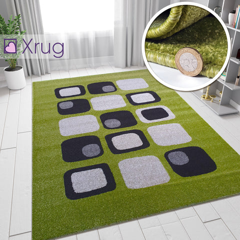 Olive Green Rug Modern Cubic Style Carpet for Living Room Bedroom Large Green Rugs
