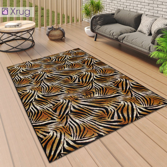 Outdoor Rug Tropical Orange Black for Decking Patio Garden Mat Large Small Tiger Animal Print Pattern