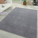 Plain Grey Rug Silver Grey Soft Extra Large Small Living Room Bedroom Rug Hall Runner Circle Round