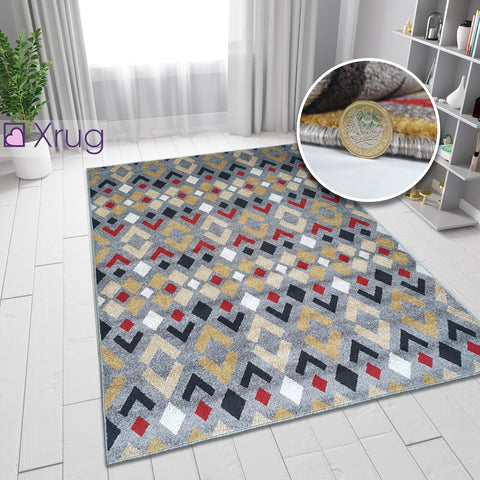 Grey Rug Modern Red Yellow Mustard Patterned Rug Woven Carpet Small Large New