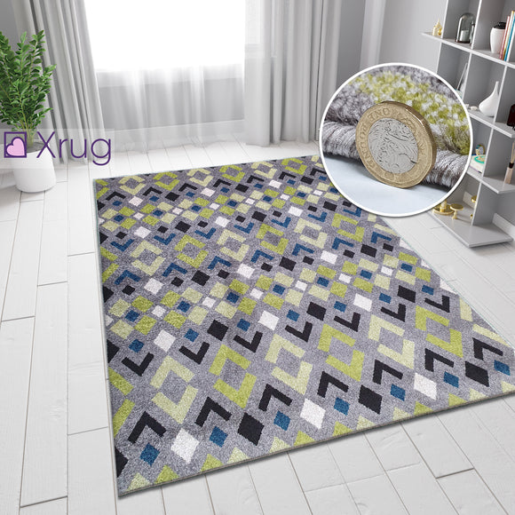 Modern Grey Rug Green Blue Patterned Carpet Small Large Living Room Hall Runner