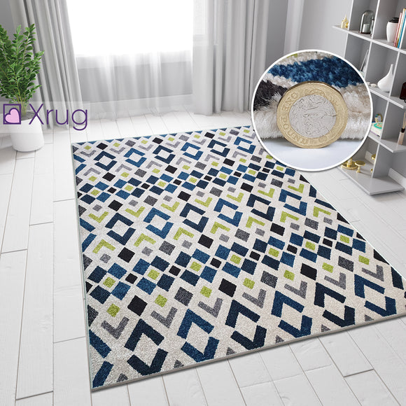 Cream Blue Green Rug Geometric Diamond Pattern Carpet Runner Modern Small Large