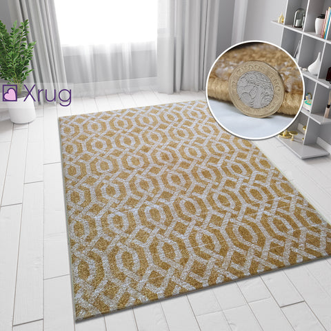 Grey and Yellow Gold Rug Modern Trellis Patterned Woven Carpet Small Large Mat