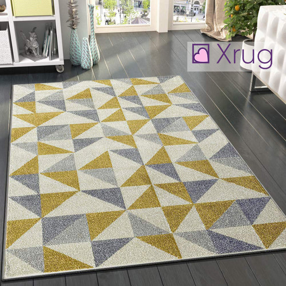 Modern Mustard Yellow Grey Rugs Geometric Pattern Woven Low Pile Carpet Living room & Bedroom Floor Mats