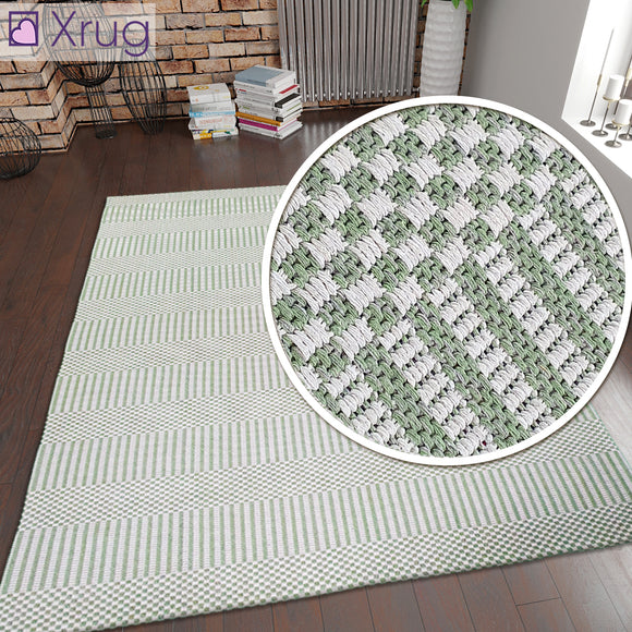 Green Cream Cotton Rug Flatweave Carpet Striped Braided Pattern Washable Carpet Living Room Bedroom Mat Small Extra Large Hallway Runner